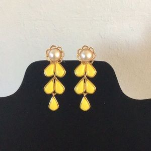 kate spade pearl and yellow flower earrings